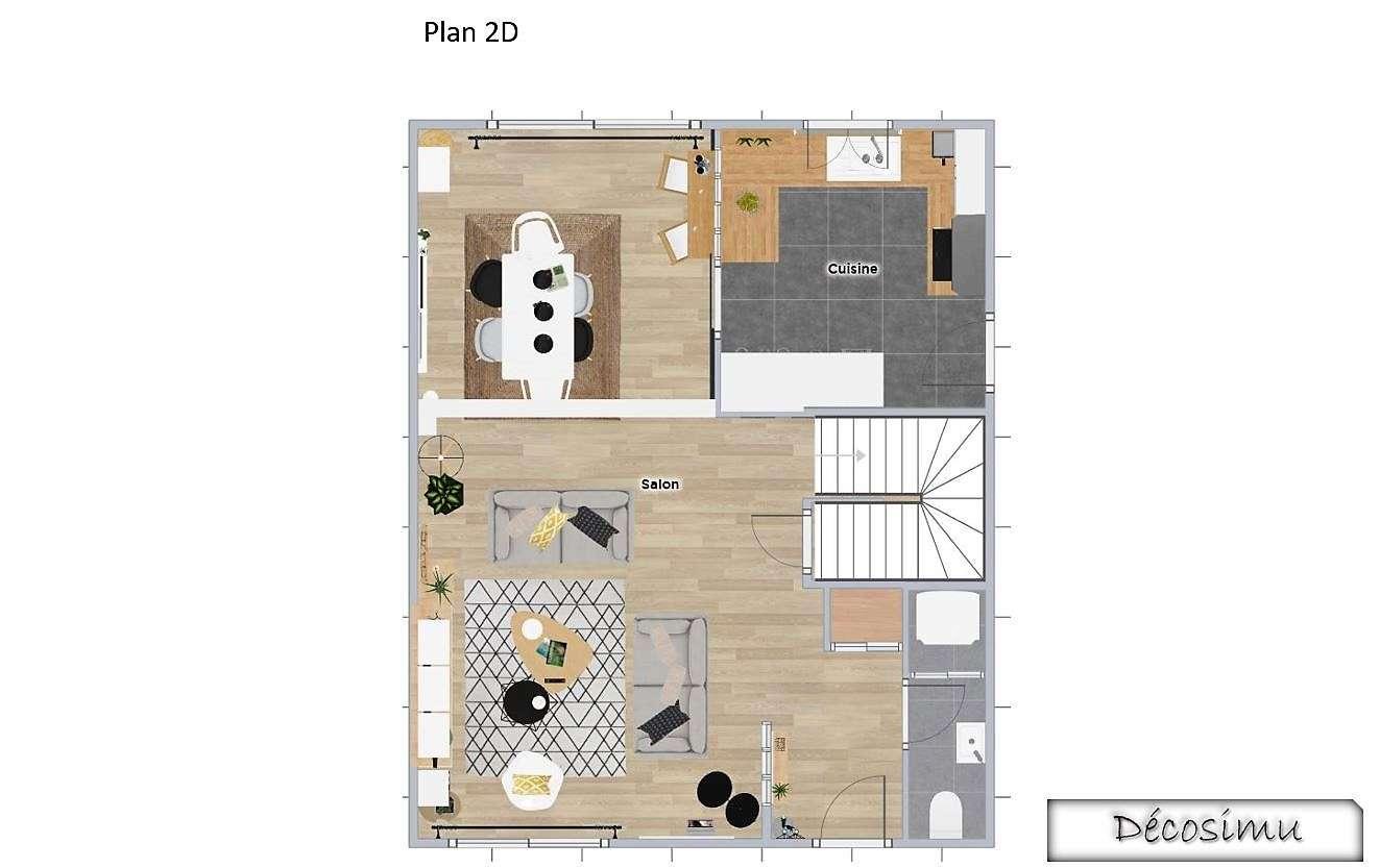 Plan 3D Pièce à vivre