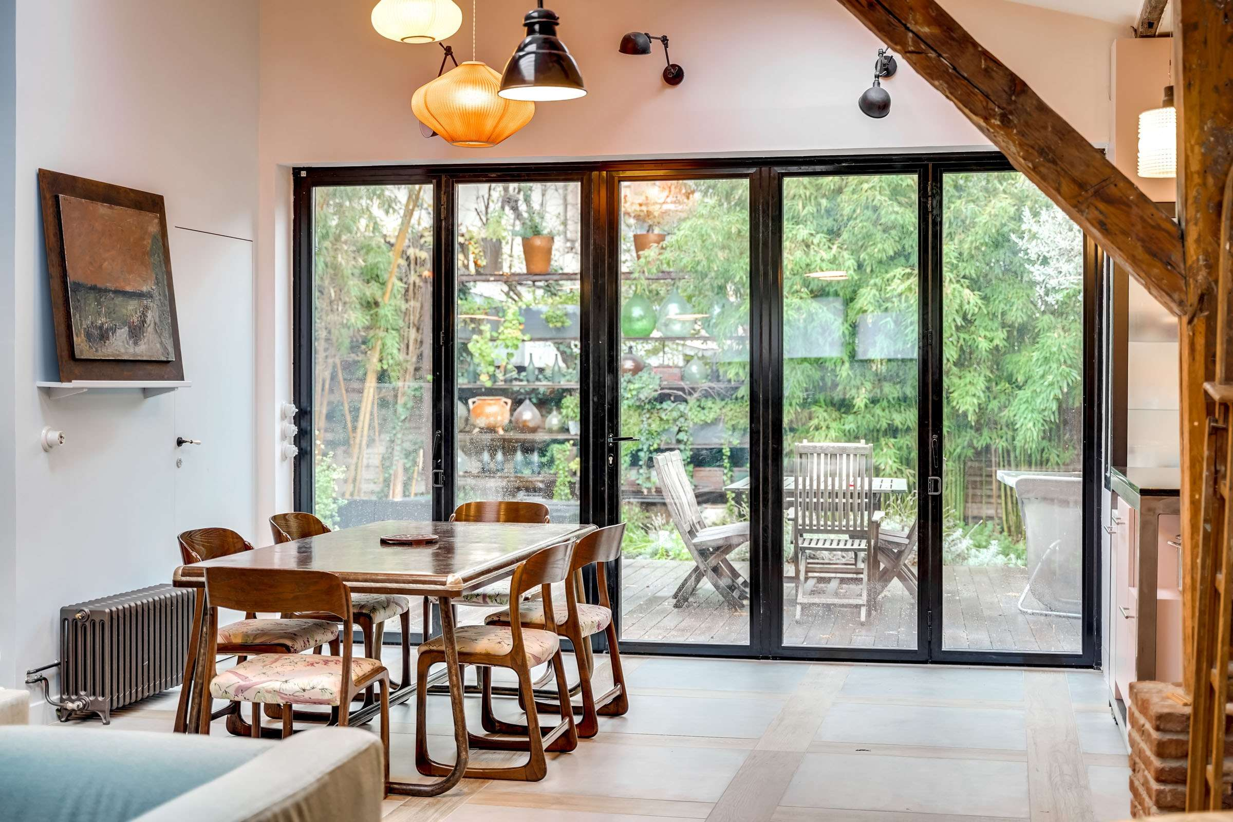 Création d'une grande ouverture sur le jardin et Rénovation d'une cuisine