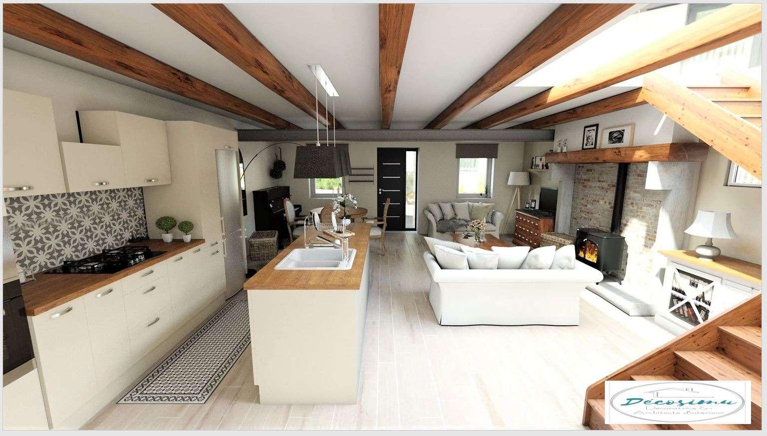 Relooking 3D d'une ancienne maison en un style campagne chic