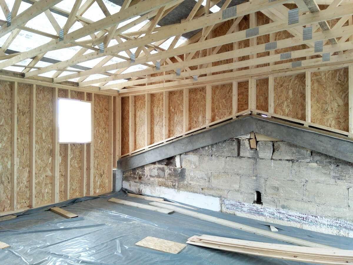 Photo de l'espace à l'étage - phase chantier