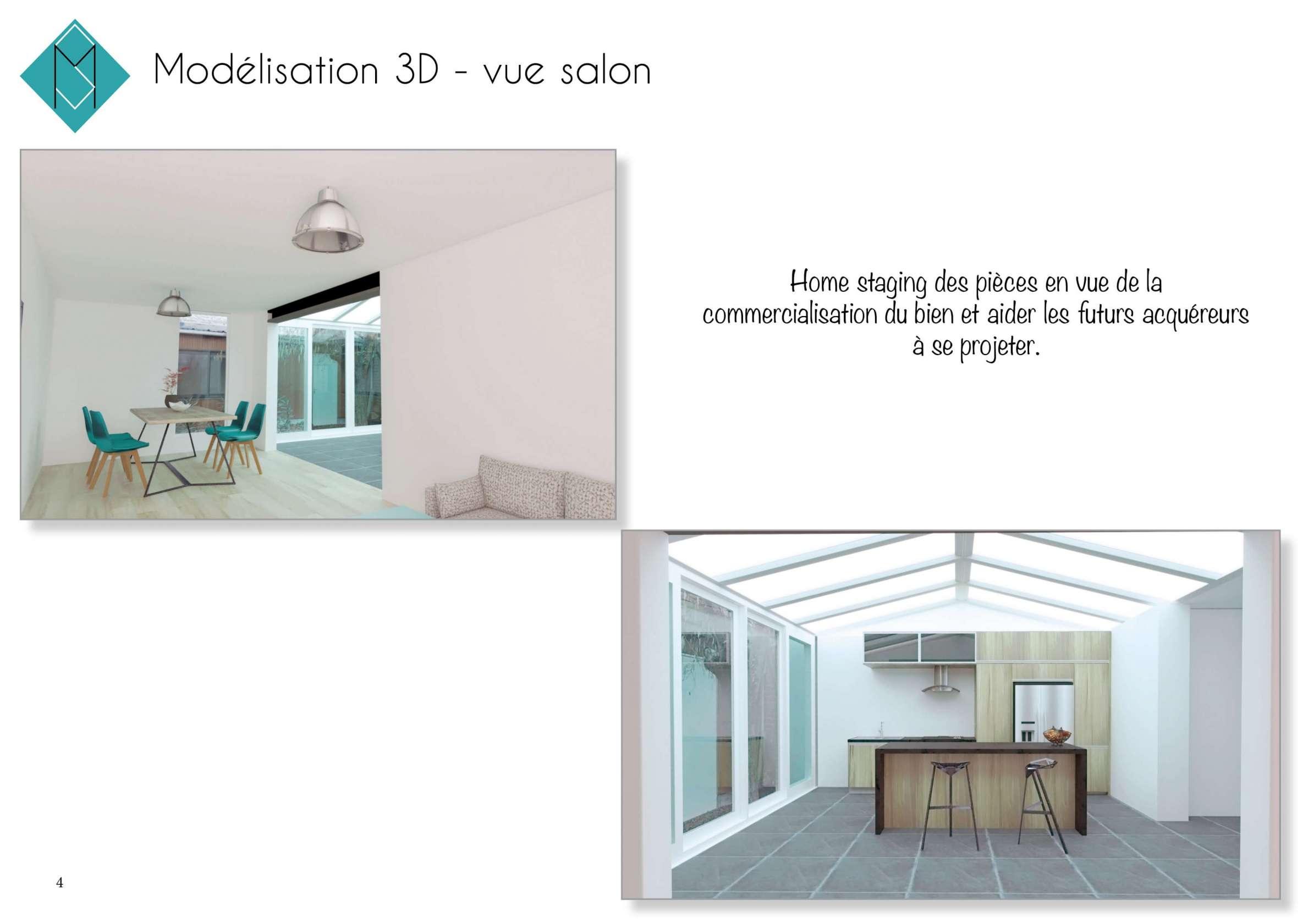 Visuels 3D vue du salon après ouverture sur la cuisine et pose d'un IPN