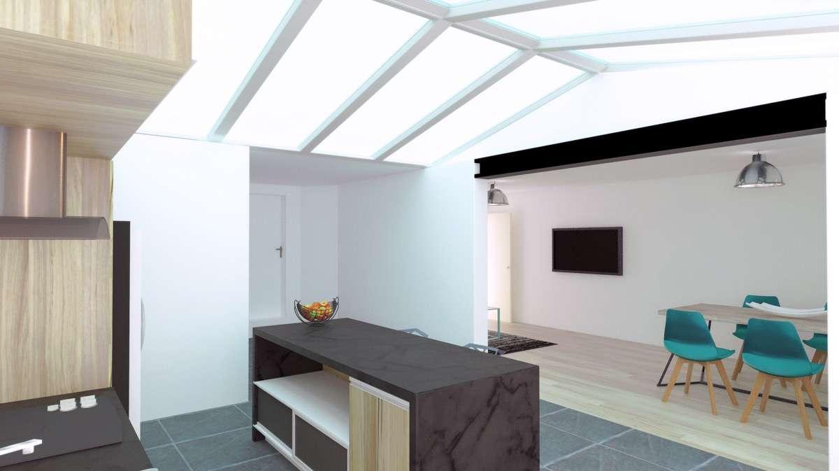 Visuel 3D après ouverture sur le salon vue de la terrasse