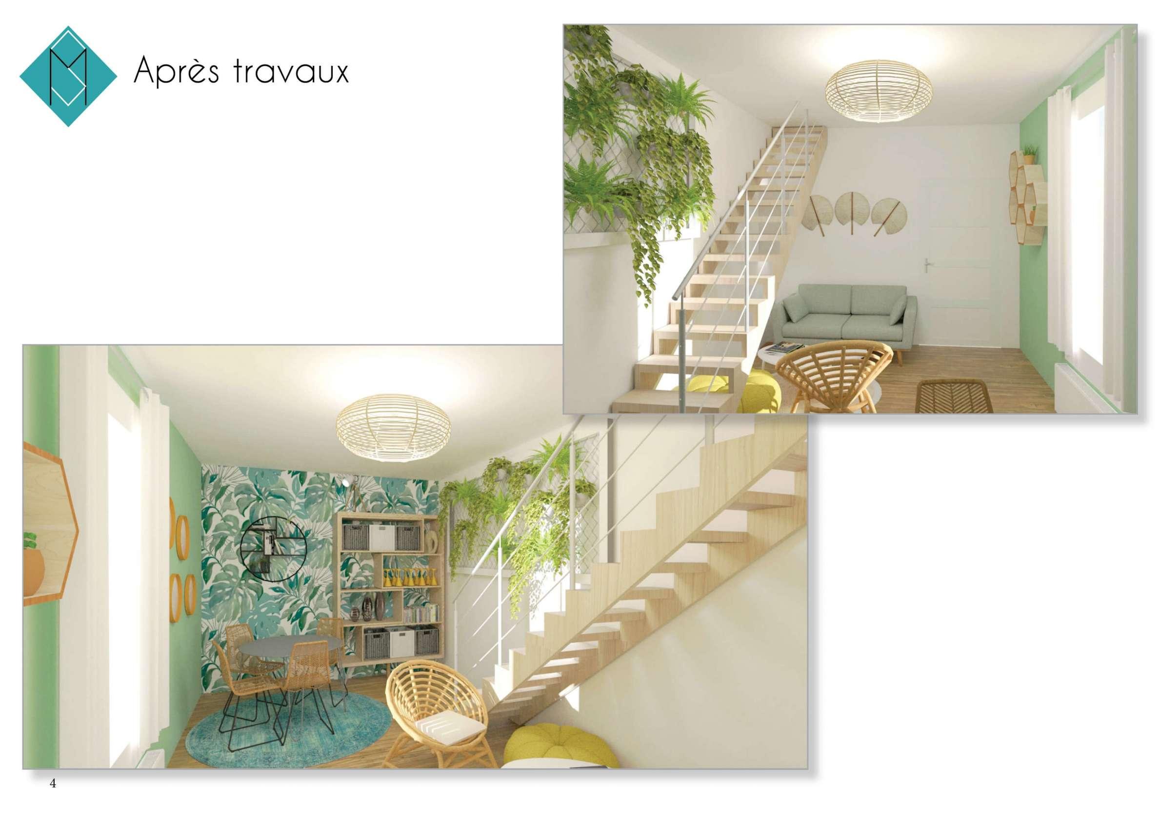 Rénovation et aménagement du salon dans un esprit jungle
