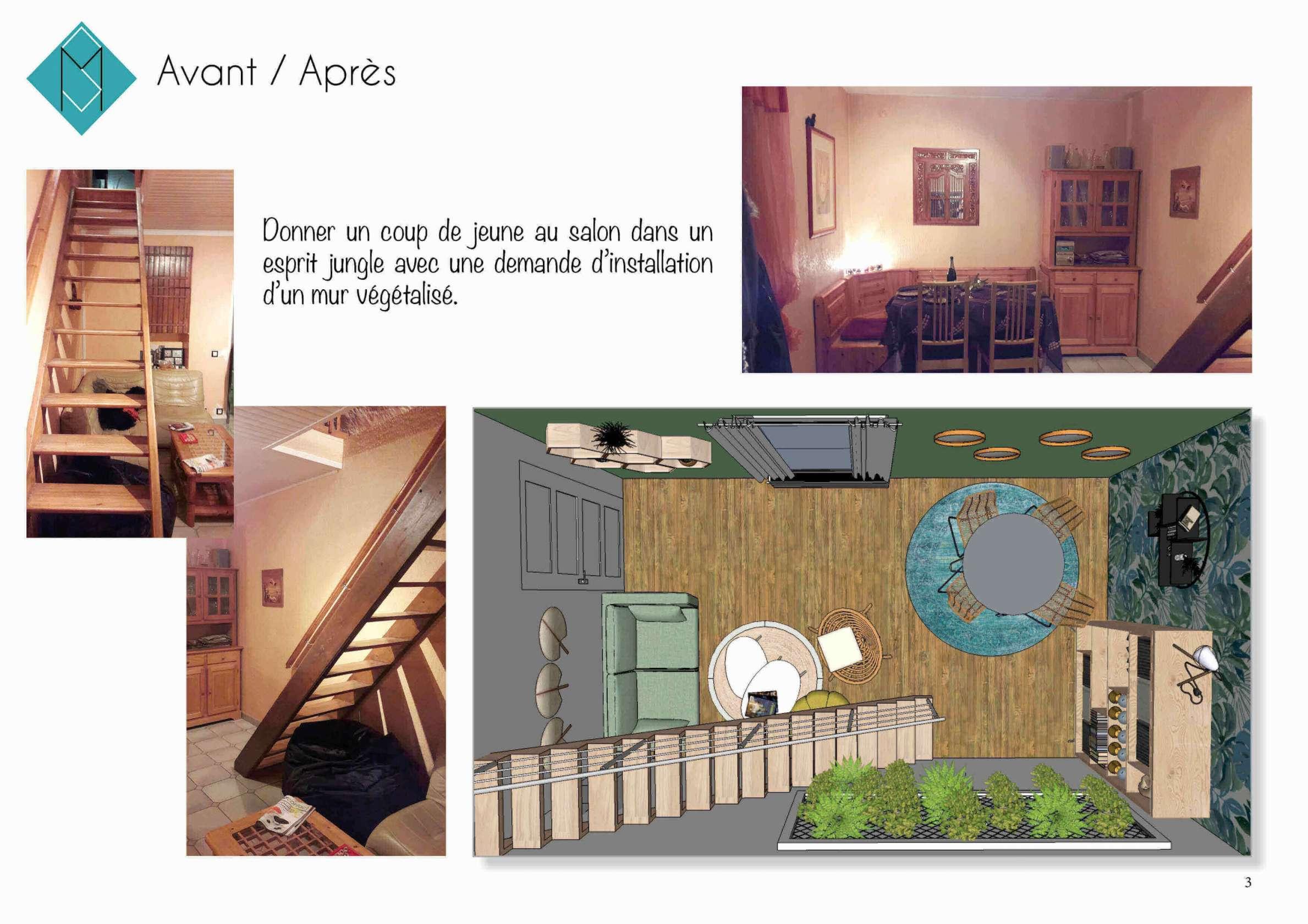 Photos avant rénovation et modélisation 3D du salon