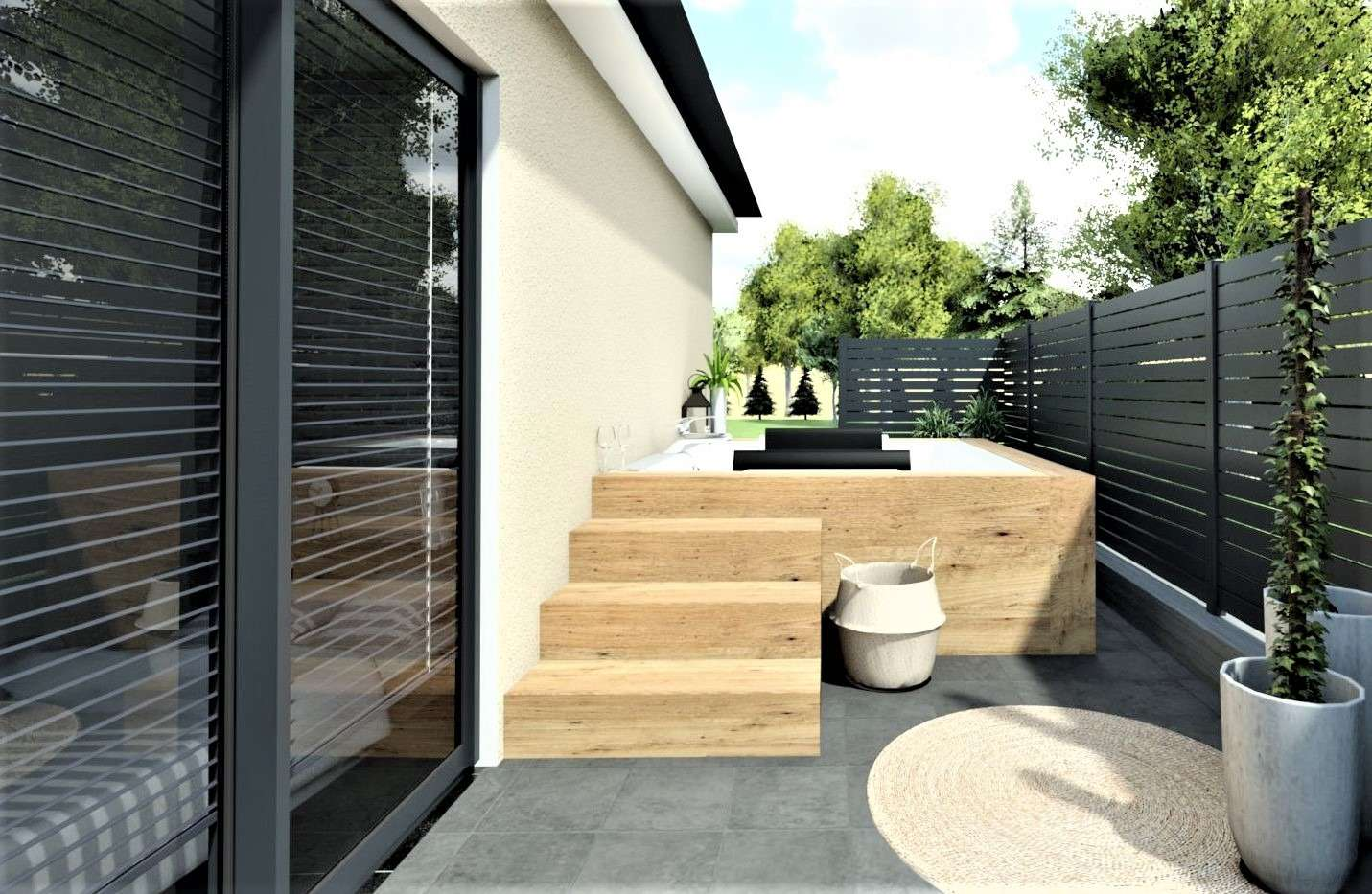 Terrasse en 3D aménagé avec un coin Spa