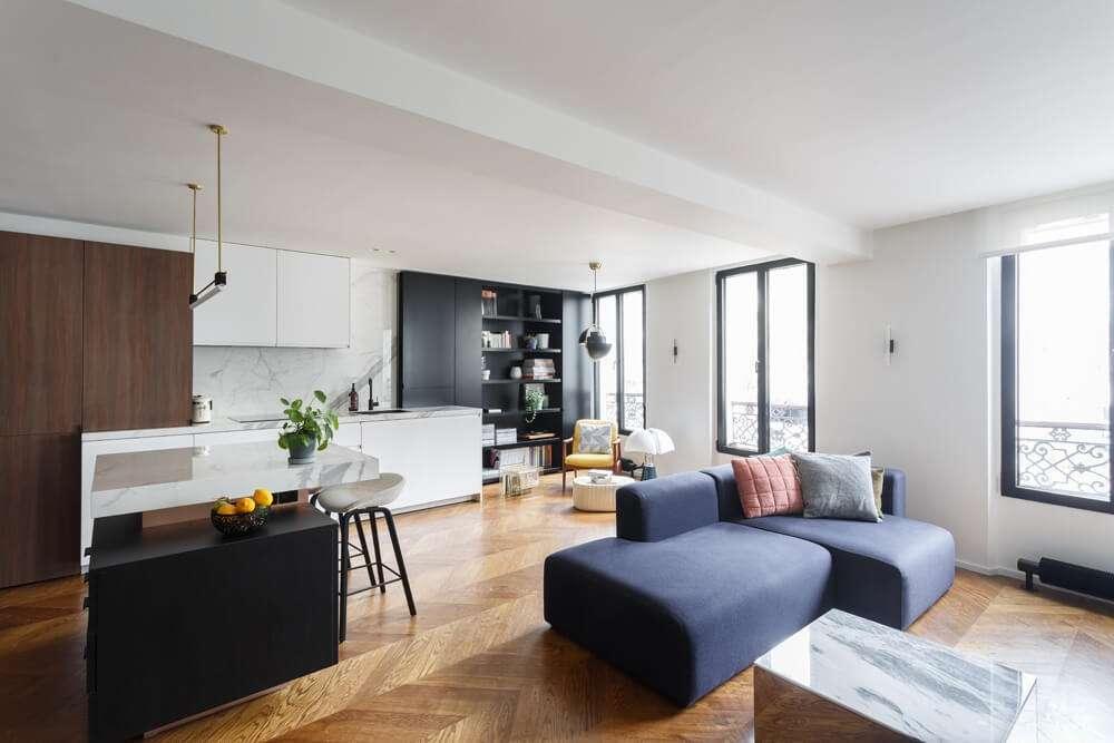 Salon ouvert sur la cuisine de style contemporain
