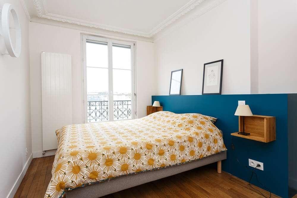 Chambre parentale avec tête de lit sur mesure