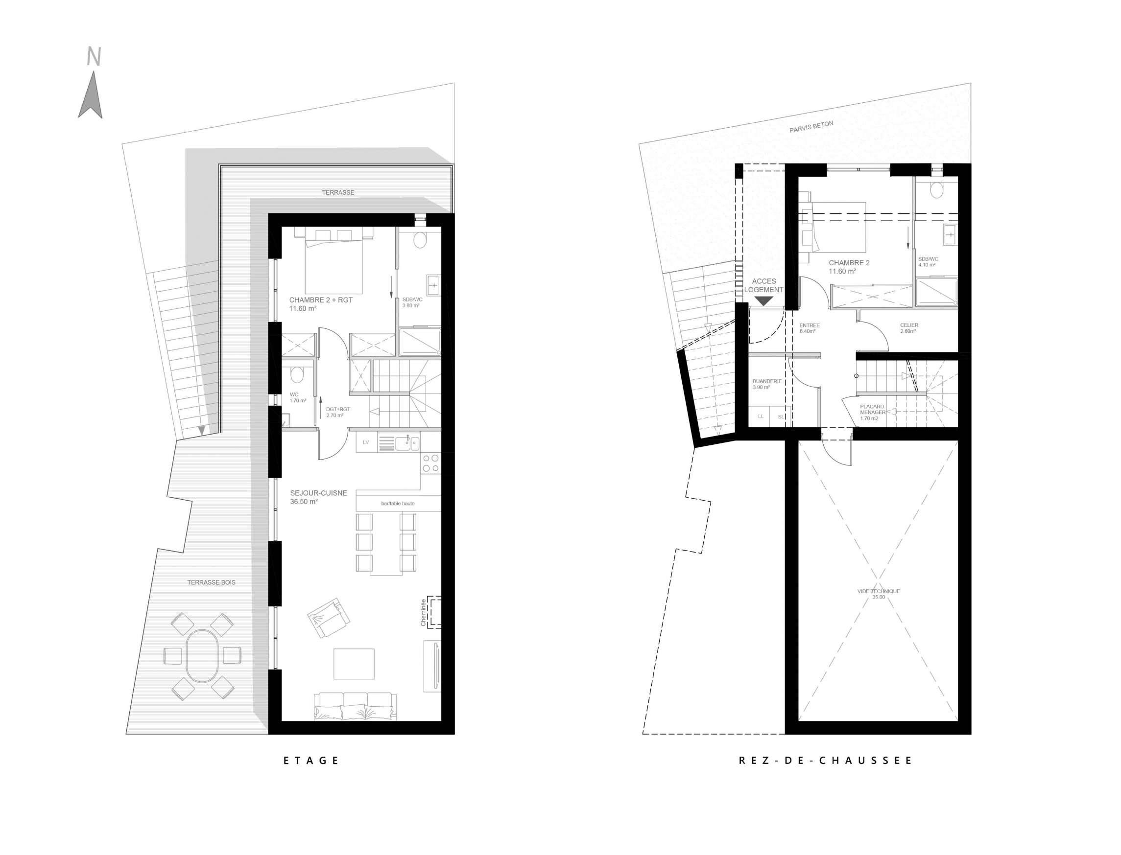 Plans du rez-de-chaussée et de l'étage