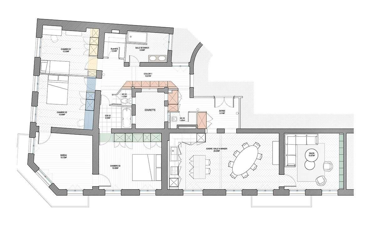 Plan des appartements rassemblés