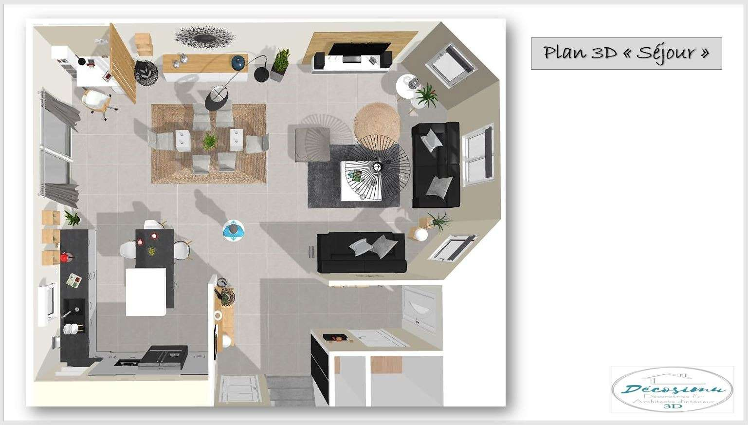 Relooking 3D d'un séjour contemporain et cosi