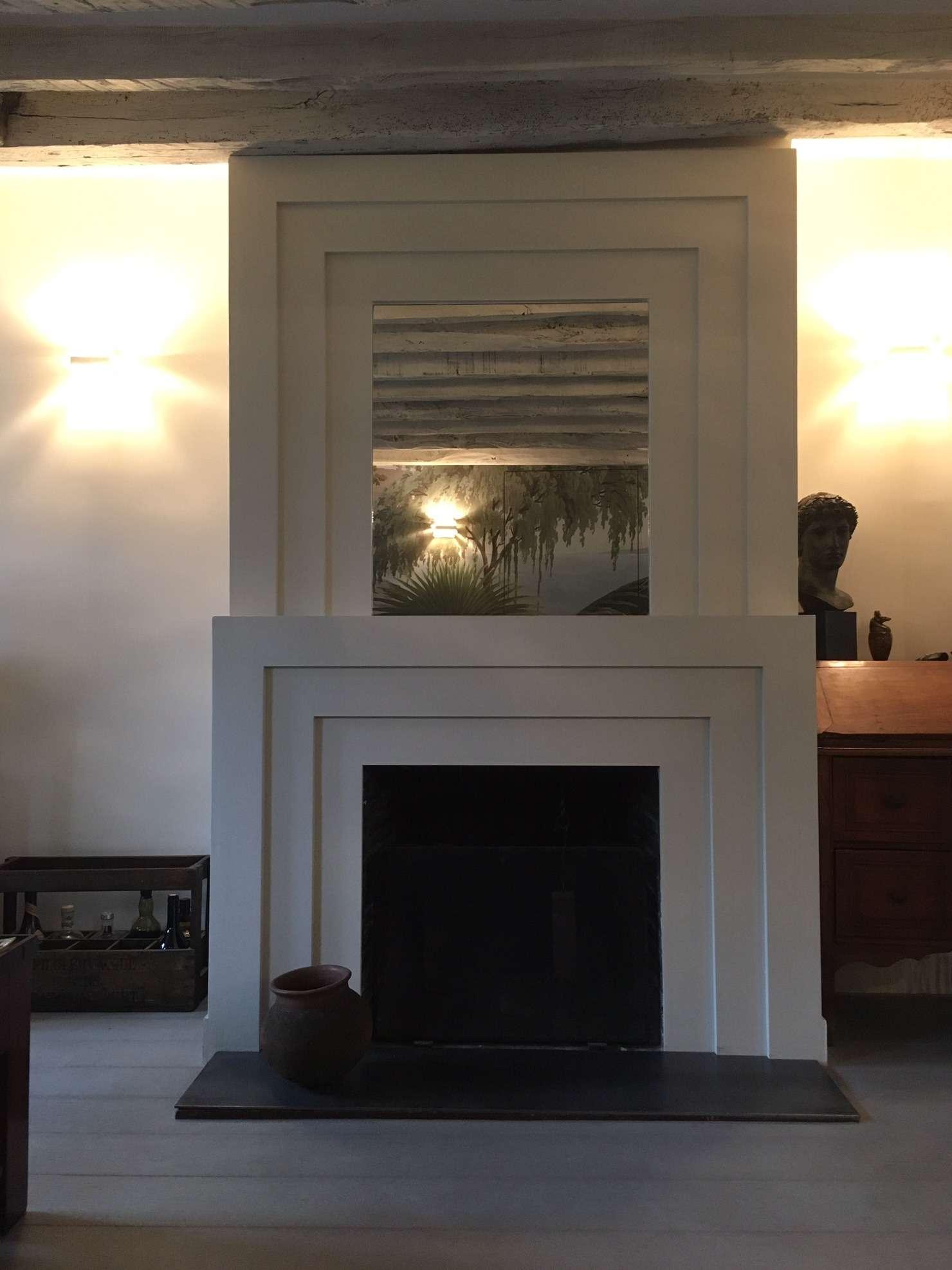 Détail de la cheminée réalisée sur mesure