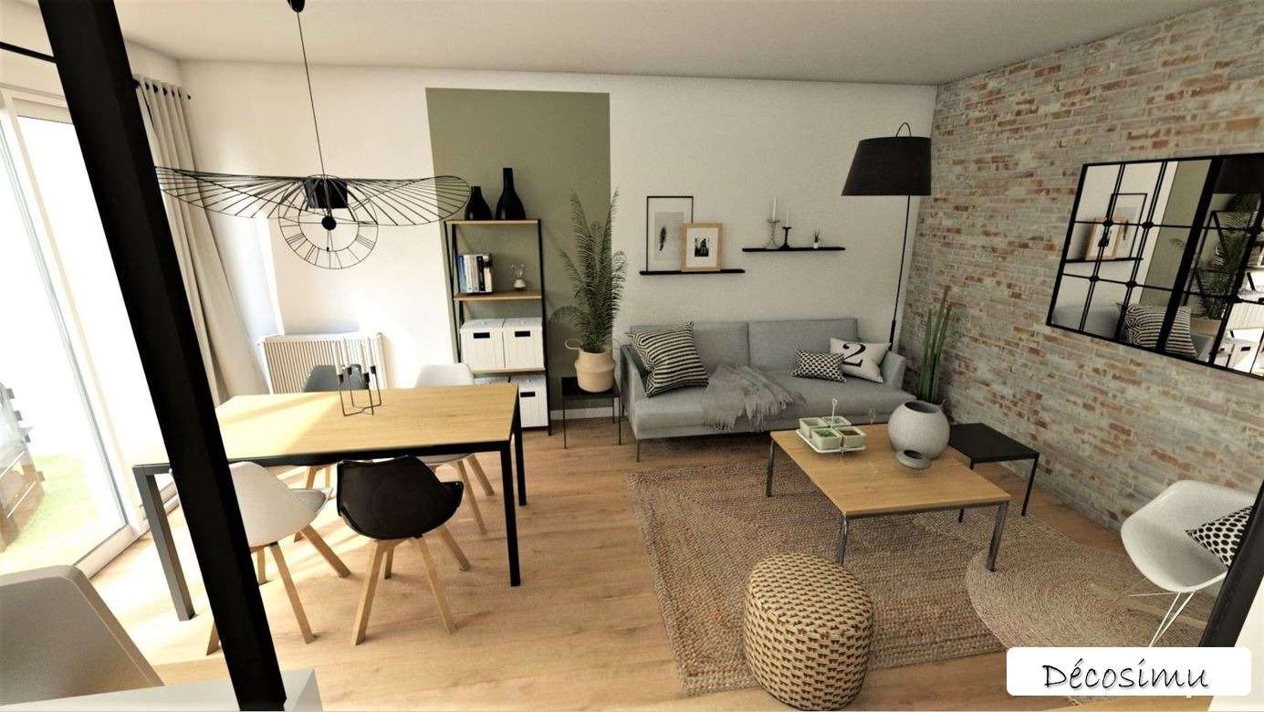 Relooking 3D d'un séjour au style indus/Ethnique/Scandinave
