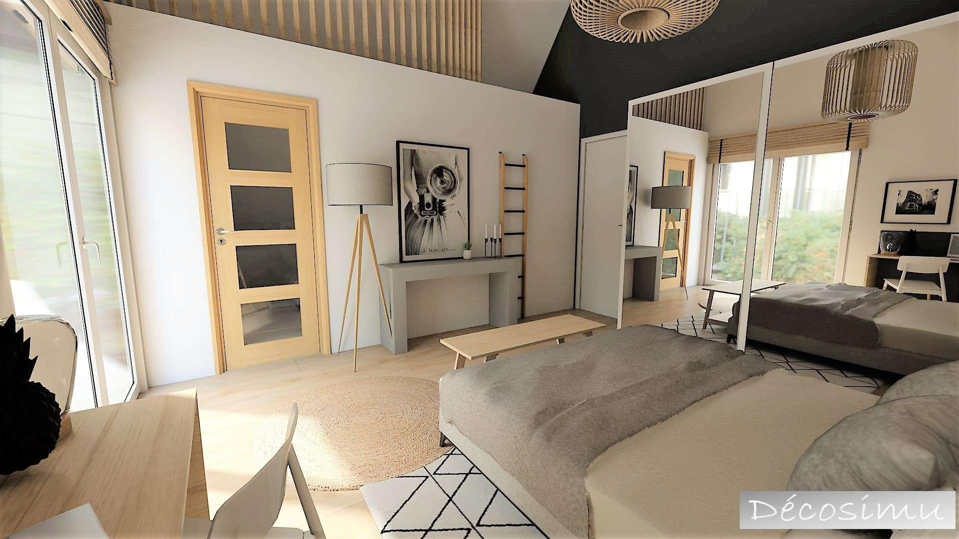 Réalisation d'un projet 3D pour une suite parentale avec  plafond cathédrale