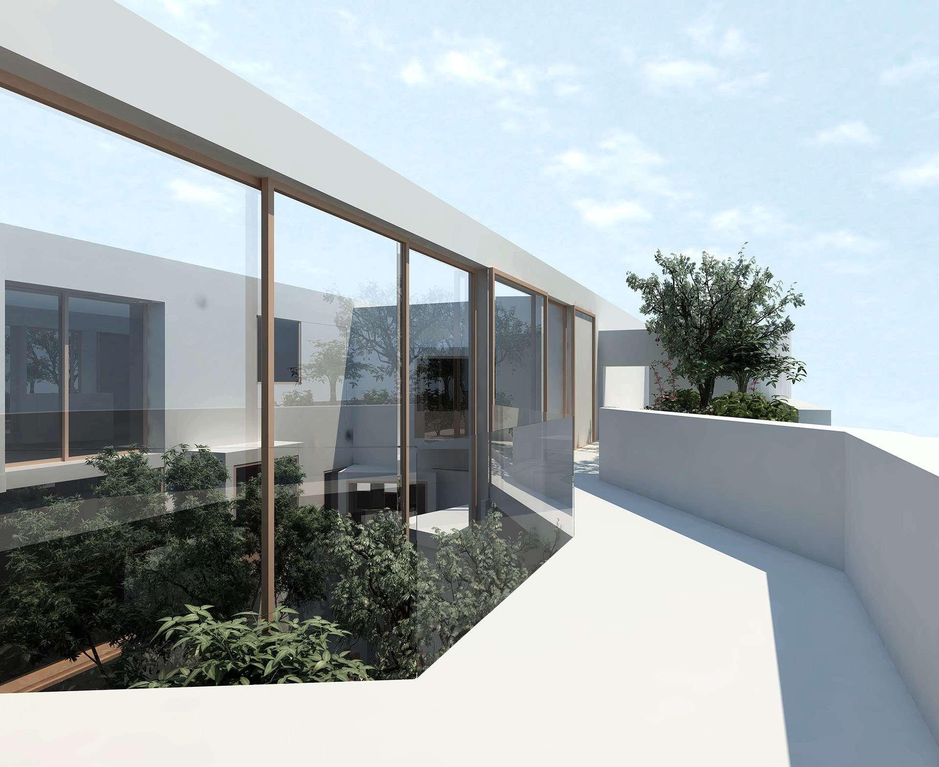 Vue terrasse vers jardin suspendu