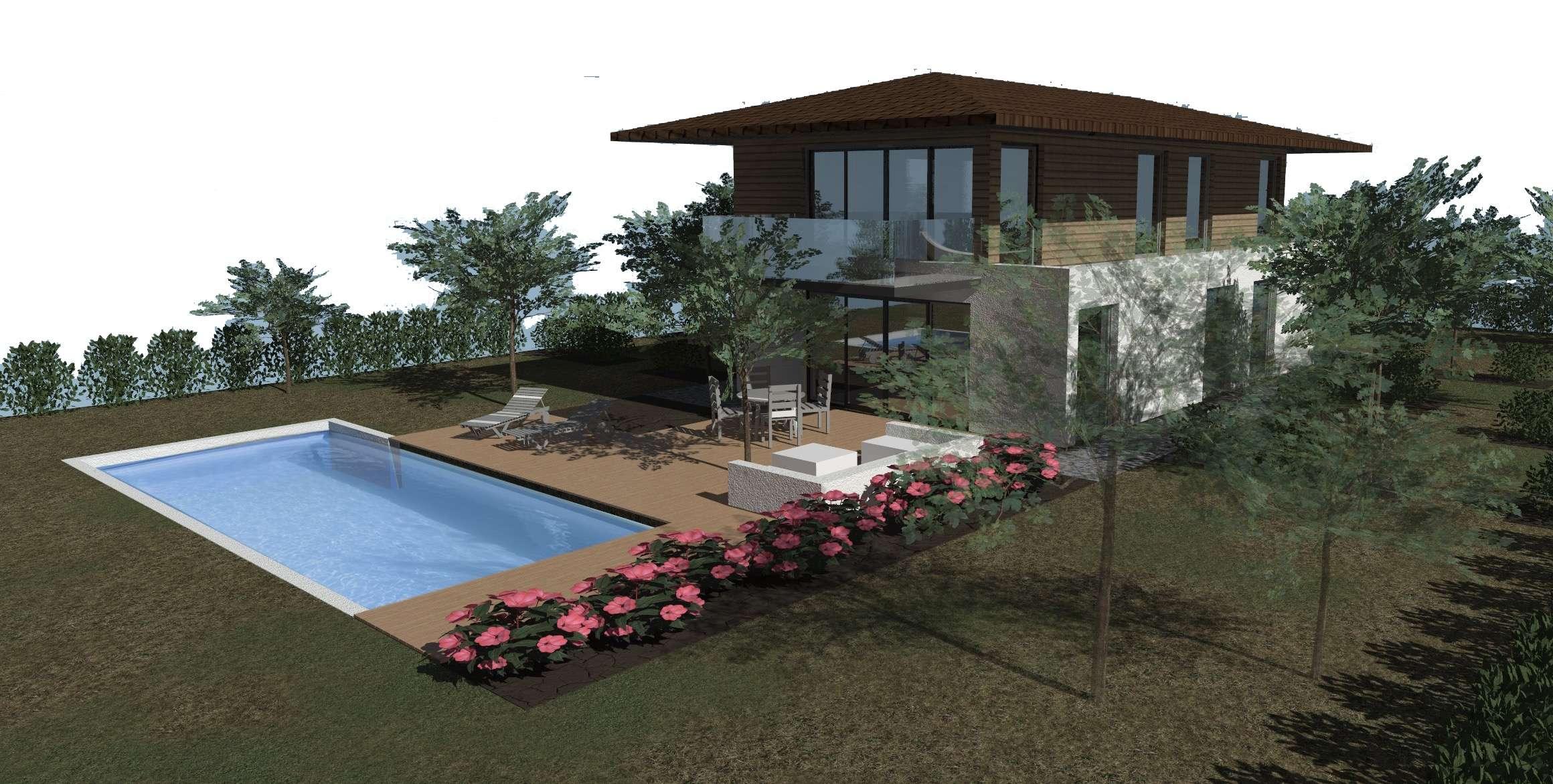 Maison avec balcon sur piscine