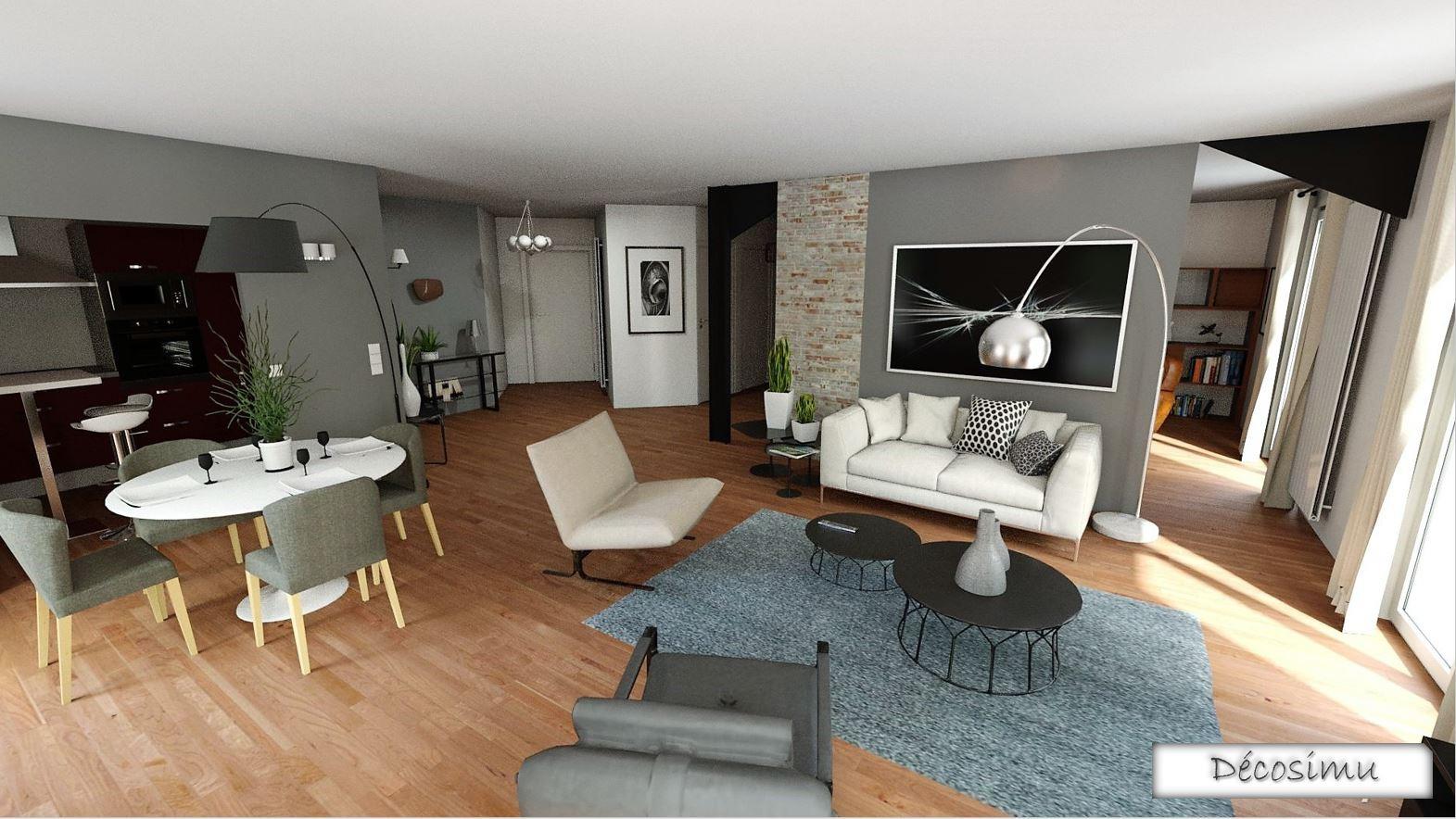 Relooking 3D d'un séjour atypique